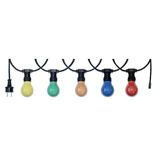 10m Illu Leitung Lichterkette für innen u außen inkl 10 Glühbirnen E27 25W bunt