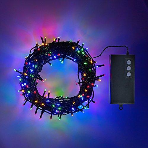 200er LED Lichterkette bunt grünes Kabel Timer Innen Außen Lights4fun