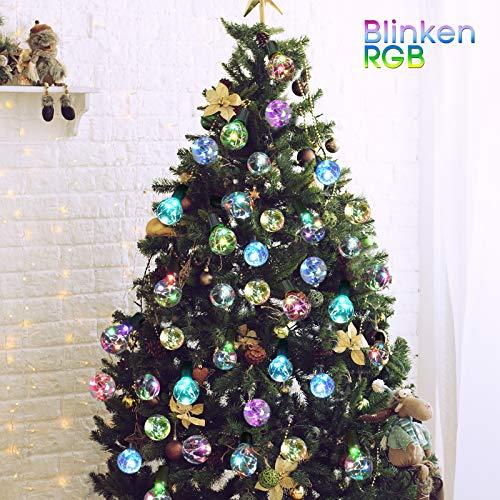 LED Lichterkette Bunt Innen Außen strombetrieben mehrfarbig G40 Globe Lichterketten 5M Wasserdicht Weihnachtsbeleuchtung für Garten Weihnachten Hochzeit Party 12 Birnen mit 1 Ersatzbirnen 6Stk Haken