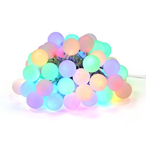 Nipach GmbH LED Partylichterkette Partybeleuchtung Lichterkette für Weihnachten Hochzeit Kindergeburtstag – 50 Leuchtkugeln mit Trafo – innen außen – bunt