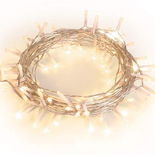 100er LED Lichterkette Batterie betrieben WarmWeiß Ideal für CHRISTMAS Festlich Hochzeiten Geburtstag PARTY NEW YEAR Dekoration HÄUSER ETC