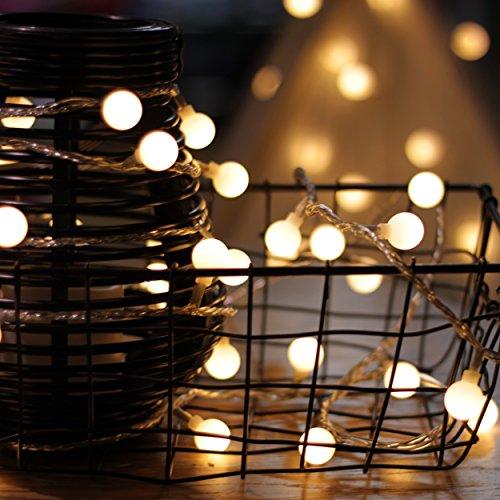 Lichterkette von myCozyLite LED Lichterkette mit timer EU Stecker 15m 100er Globe Warmweiß Weihnachtsbaum Deko für Innen und Außen erweiterbar mit 31V DC Niederspannungs-Transformator