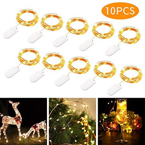 tronisky LED Lichterkette Batterie 20 LEDs 2M Kupferdraht Lichterkette Sternlicht Warmweiß Wasserdicht Außen Innen Licht Dekoration für Weihnachten Party Haus Hochzeit 10 Stück