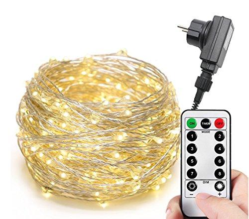 200300er LED Mikro Silberdraht Lichterkette Strombetrieb Deko für Innen Außen Warmweiß gresonic 8 Modi Timer Dimmbar 300LED