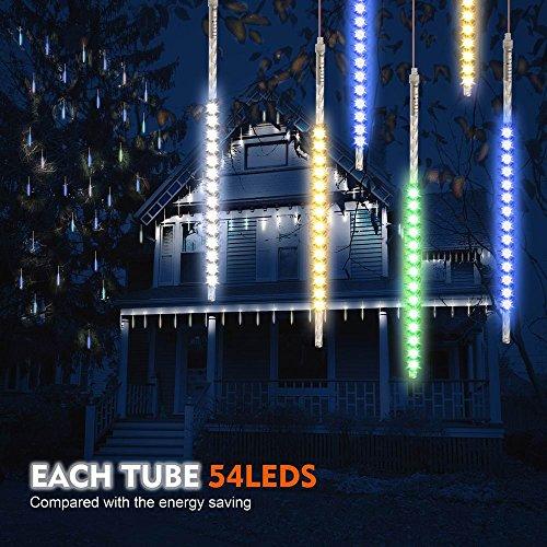 Samoleus 50cm 10 Tube 540 LEDs Meteorschauer Lichterkette Innen IP65 Wasserdichte Meteor Shower Lichter mit EU Stecker Meteorschauer Regen Lichter für Party Weihnachten Dekoration Außen Farbe-50cm