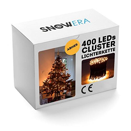 SnowEra 400er LED Galaxy Lichterkette  Weihnachtslichterkette für innen außen mit Timer und Dimmfunktion – Lichtfarbe Amber  Bernstein – Form Cluster Lichterkette