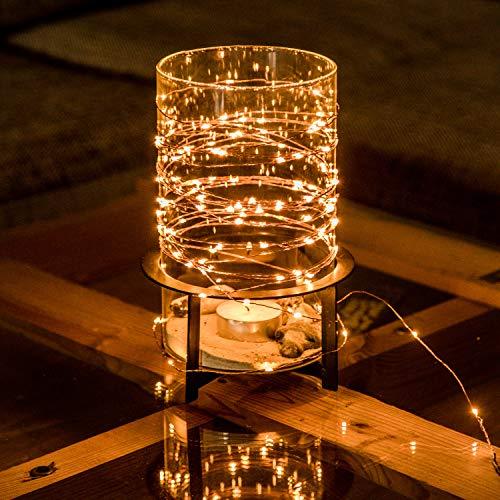 CozyHome Kupferdraht 100er LED Lichterkette für innen und außen  12 Meter Gesamtlänge  100 LEDs warm-weiß - kein lästiges austauschen der Batterien  NICHT batterie-betrieben sondern mit Netzstecker