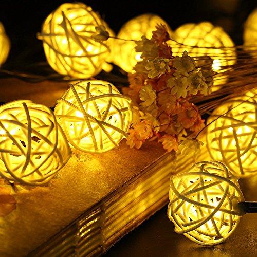 Samoleus Rattan Lichterkette Solar Warmweiß 20 LEDS 48M 2Modes Außen Lichterketten Solar Lampions Wasserdicht Weihnachtsbeleuchtung für Gärten Häuser Outdoor Warmweiß