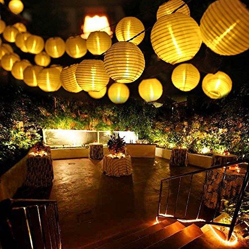 Qedertek Solar Lichterkette Lampion Außen 6 Meter 30 LED Laternen 2 Modi Wasserdicht Weihnachtsbeleuchtung für Garten Hof Hochzeit Fest Weihnachten Deko Warmweiß