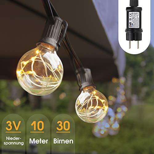 Lichterkette Garten 10M Glühbirne Lichterkette Außen G40 LED 3 W Weihnachtsbeleuchtung Innen Aussen IP44 Wasserdicht Weihnachten Beleuchtung 3V Niederspannung 30 Birnen mit Ersatzbirnen Warmweiß