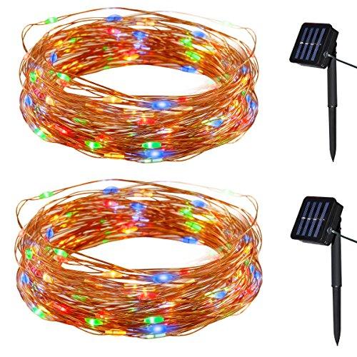 Yasolote Solar Lichterkette Außen LED Außenlichterkette Kupferdraht 10m 100 LED 8 Modi Beleuchtung für Garten Balkon Pavillon Terrasse Rasen Hof Zaun Hochzeit Fest Deko Vielfarbig 2 Stück