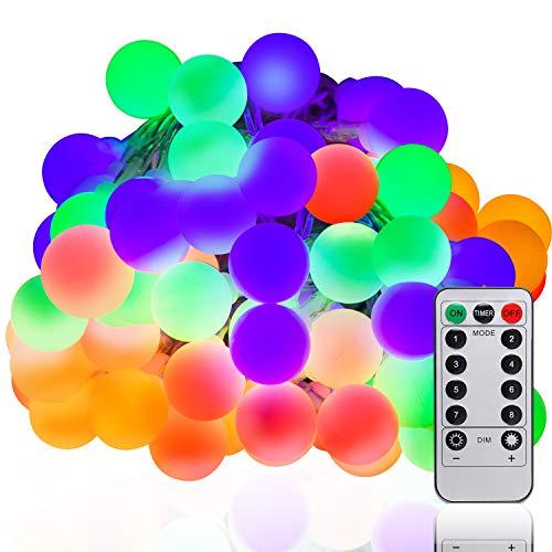 LED Globe Lichterkette 10M 100 LEDs Lichterkette mit batterie Innen- und Außen Lichterkette Glühbirne Lichterkette glühbirnen mit 8Modi und Timer für Weihnachten Party