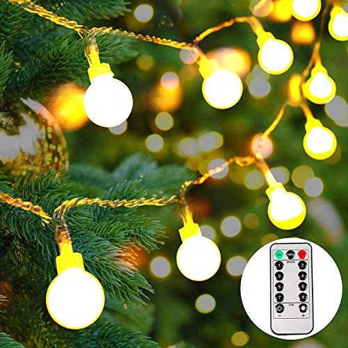 lichterkette batterie außen100 LEDs Globe LichterketteLED Lichterkette warmweiß Weihnachtsbeleuchtung für Party GartenHochzeit10M