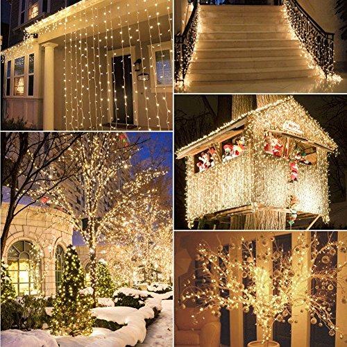 100er LED Outdoor Lichterkette Batterienbetrieben mit Timer Warmweiß deal für CHRISTMAS Festlich Hochzeiten Geburtstag PARTY NEW YEAR Dekoration HÄUSER ETC 8 Modi Außenbeleuchtung