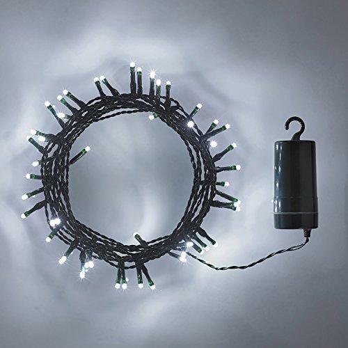 50er LED Lichterkette weiß grünes Kabel Timer Innen Außen Lights4fun