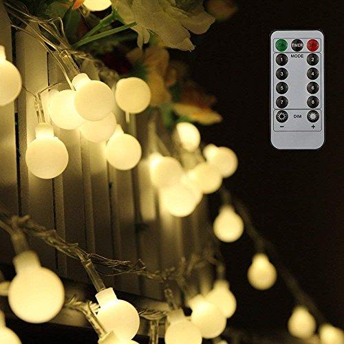 80 Leds Globe Lichterkette 10 Meter Tomshine Warmweiße Kugel Lichterkette mit IR Fernbedienung BatteriebetriebeneIP44 Wasserdicht
