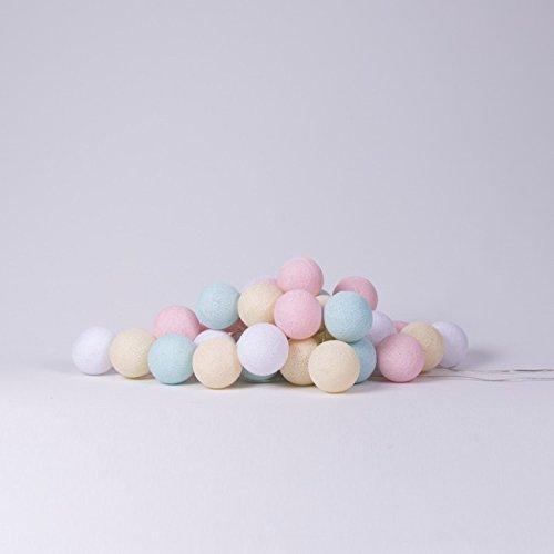 Cotton Ball Lights LED Lichterkette Baumwolle Weiß RosaShell  Licht Aqua