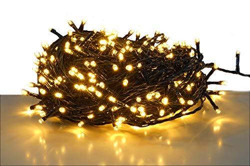 LED Lichterkette mit 300 LEDs - LED warmweißKabel grün - für den Innen- und Außenbereich - Weihnachtsbaum Lichterkette 300 LED - 30m