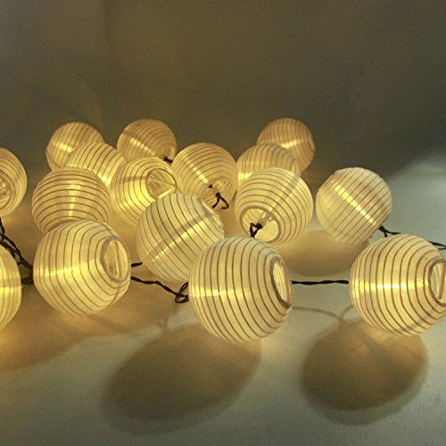 LED Solar Lichterkette Lampions ALED LIGHT IP65 Wasserdicht 20er LED Lampions Laterne Lichterkette Garten Innen und Außenbereich 41 M für Party Weihnachten Energieklasse A Warmweiß