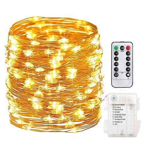 GDEALER 10M 100er LED Lichterkette 8 Modi Außenbeleuchtung Batteriebetrieben Kupferdraht Wasserdicht IP65 mit Fernbedienung für Outdoor Innenbeleuchtung Garten Hochzeit Party Weihnacht Warmweiß