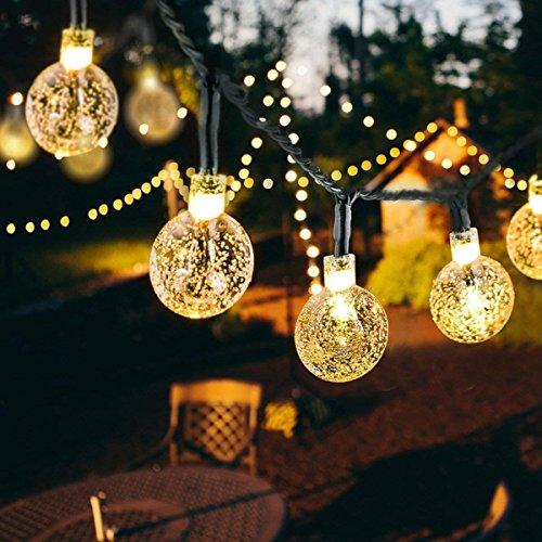 30 LED Solar Lichterkette Weihnachtsbeleuchtung Beleuchtung Außen mit Kugel 8 Modi Lichtsensor für Party Außen Fest Deko warmweiß