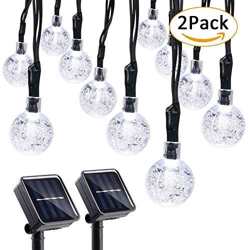 Qedertek Solar Lichterkette Aussen mit 30 LED Weiss Solar Kugel Lichterkette Außen 2 Stück 6m 8 Modi Gatenbeleuchtung für Weihnachten Garten Terrasse Haus Party Balkon Deko