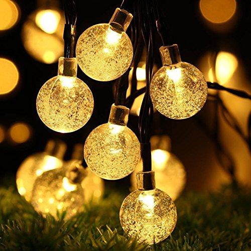 Solar Lichterkette Aussen Tomshine 30er Solar Lichterkette Außen mit LED Kugel Wasserdicht Warmweiß 56 Meter Solarbetriebene Lichterkette für Garten Party Weihnachten