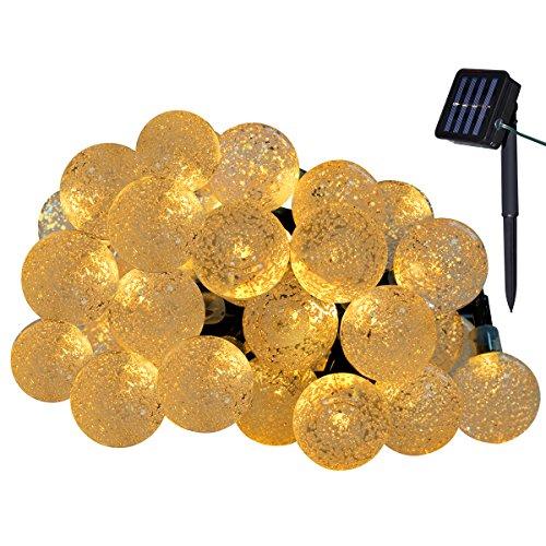 Yasolote Solar Lichterkette Außen Wasserdicht LED Außenlichterkette Kugeln 45m 30 LED 8 Modi Beleuchtung für Garten Balkon Pavillon Terrasse Rasen Hof Zaun Hochzeit Party Deko Warmweiß