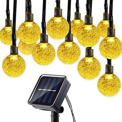 budbuddy 30er LED Solar Globe Garten Lichterkette Außen Kristall 65 Meter Solar Kugel Beleuchtung für Party Outdoor Fest Deko usw warmweiß