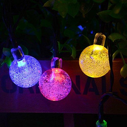 lederTEK Solar Lichterkette Kugel 6m 30 LED Außenlichterkette Wasserdicht mit Lichtsensor Weihnachtsbeleuchtung Beleuchtung für Haushalt Außen Garten Hochzeit Weihnachtenmehrfarbig