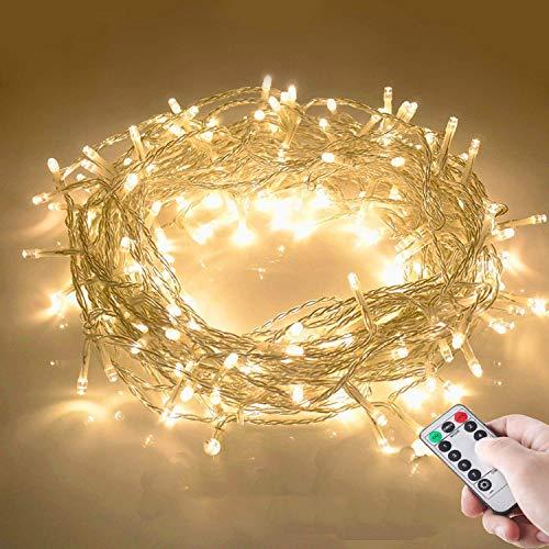 10M 100 LED Lichterkette mit Fernbedienung und Timer 8 Modi Dimmbar Batterie betrieben Lichterkette Außen Innen für Zimmer Weihnachten Weihnachtsbaum Party Hof - Warmweiß