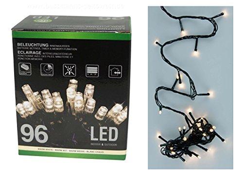4x LED Lichterkette 96 LEDs warmweiß Batterie Timer Weihnachten innen außen