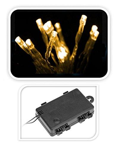 LED Lichterkette mit 24 LEDs in warmweiß - Innen und Außen - Batterie betrieben mit Auto Timer