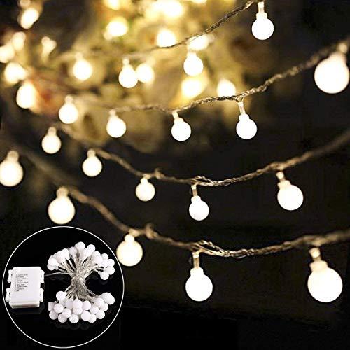 Lichterkette B-right 40 LED Globe Lichterkette LED Lichterkette batteriebetrieben warmweiß Innen und Außen Lichterkette Glühbirne Weihnachtsbeleuchtung für Weihnachten Hochzeit Party Weihnachtsbaum