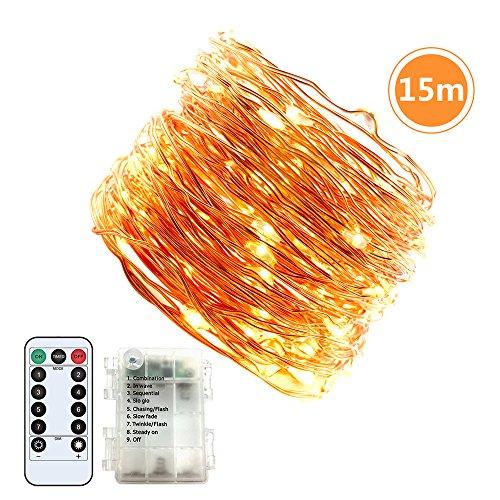 Lichterkette Jadelotus 15m außen und innen warmweiß String Lights Batterie betrieben Wasserdicht 8 Modi 150 LED mit Fernbedienung für Weihnachten Hochzeit Party Garten CampingFeiern Schlafzimmer
