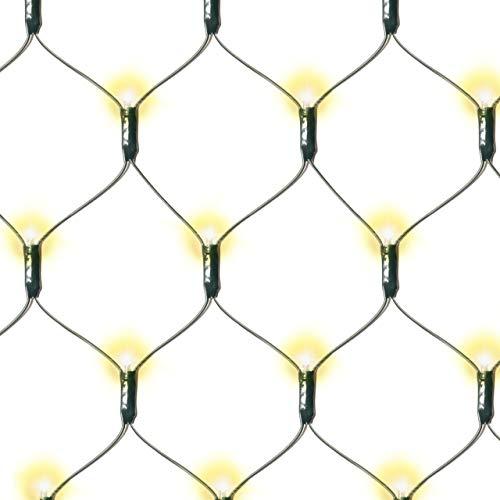 Nipach GmbH 160 LED Lichternetz 2x2 m warmweiß mit Timer Batterie Weihnachtsdeko Partydeko Pavillonbeleuchtung Lichterkette für Außen Netzvorhang Lichtervorhang