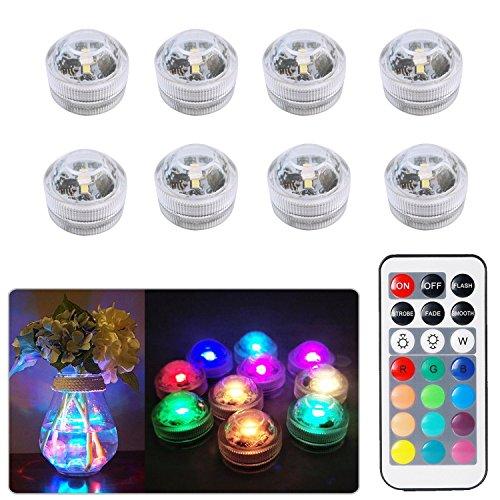 8pcs Unterwasser-LED-Lichter Wasserdichte Unterwasserlichter SMD 3528 RGB Stimmungs-Lichter für Vase Schüsseln Aquarium und Parteidekoration IR-Fernsteuerungs