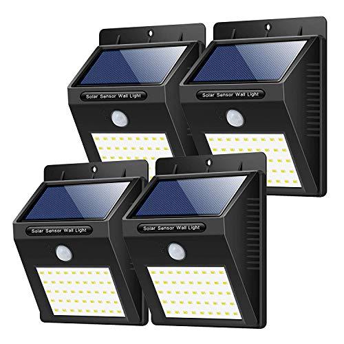 Solarleuchten Außen 4 Stück Yacikos 40 LED Solarlampe mit Bewegungsmelder Solar Wandleuchte Solarlicht Wasserdichte Solar Beleuchtung Solarbetriebene Kabelloses Sicherheitslicht für GärtenPatio