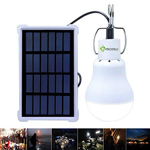 PRODELI Solarleuchten Lampe LED Solar Glühbirne Solarlampen tragbare Lämpchen Licht Birne für außen Innen Garten Camping Wandern Lesen Zelt Angeln Beleuchtung Upgraded150LM 1600mA Batterie