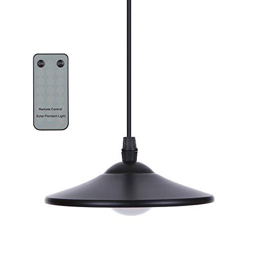 Lixada 3W Solar Hängende LampeSolarleuchten mit Fernsteuerungs Schuppen Licht Hängende Lampe 4 LEDs 250LM(HF-Fernbedienung Pull-Cord-Schalter)