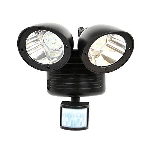 Moclever 22 LED Solarleuchten Doppelkopf Bewegung Sensor Solar Sicherheitslicht Super Hell Sicherheit Detektor Wasserdicht Solar PIR Sensor Lampe für Garten Yard Garage Terrasse Auffahrt Schwarz
