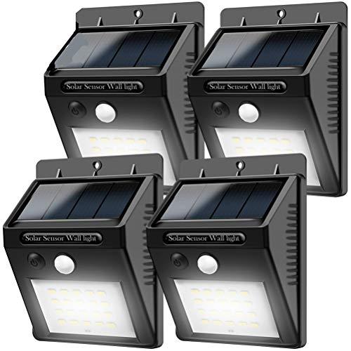 Solarleuchten für Aussen bewegungsmelder 20LEDs Solar lampe4-Packung Kabelloses Wasserfest Sicherheitslicht Solarlicht für GärtenTüreFlurWegeTerrassen Patio Zaun