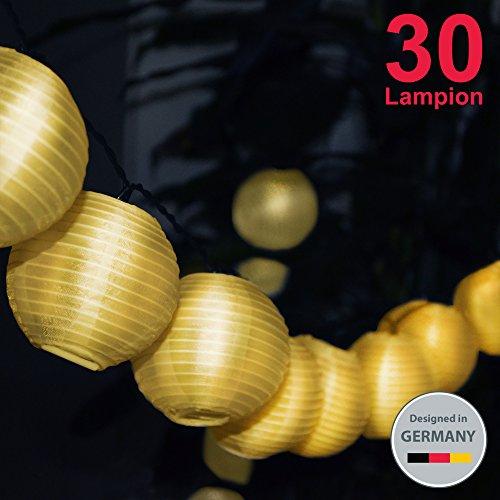 BKLicht LED Außenlichterkette Solar Outdoor Lichterkette 6 Meter 30 LEDs Lampions Laterne Solarbetrieben Lichterkette Wasserfest Weihnachten Dekoration für Garten  Terrasse  Hof  Haus