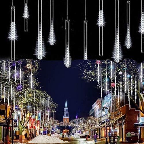 LEDs Meteorschauer Regen LichterSUAVER Wasserdichte Regentropfen Solar Licht Garten Lichterketten mit 30cm 10Tube 360LEDdekorative Lichter für Hochzeits WeihnachtsbaumWeiß