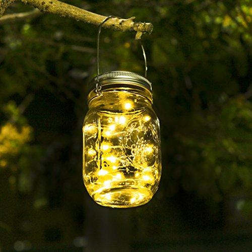 Solar Mason Jar Licht - Jar Fee Licht Wasserdichte Glasgläser Garten Hängeleuchten LED Weihnachtsbeleuchtung LichterketteLED String Licht für Party Weihnachtsferien HochzeitsdekorationWarmweiß