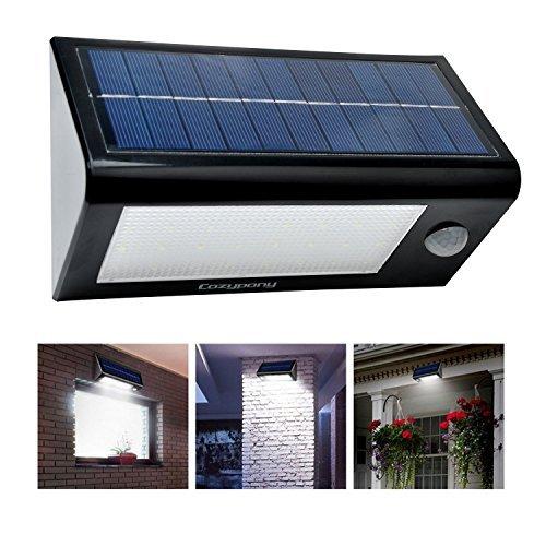 Cozypony Solarleuchten 400 Lumen 32 LED Solarlampe Solarstrahler Solar Wandlampe Wasserdicht Multimode Licht für Garten Zaun Deck Hof Multimode