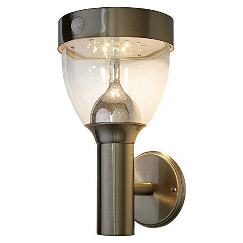 Lampenwelt LED Solarleuchte außenLenjo mit Bewegungsmelder spritzwassergeschützt Modern in Alu aus Edelstahl 1 flammig A inkl Leuchtmittel  Solar-Wandleuchten Wandlampe für Outdoor