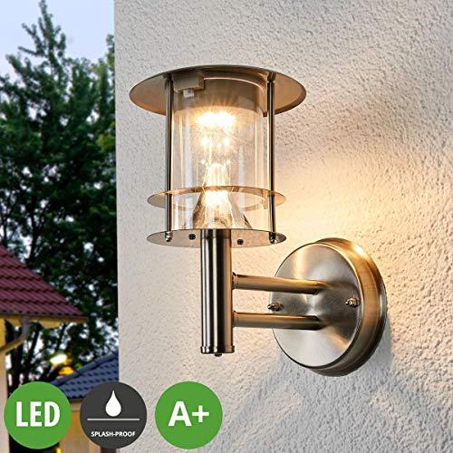 Lampenwelt LED Solarleuchte außenSumaya spritzwassergeschützt Modern in Alu aus Edelstahl 6 flammig A inkl Leuchtmittel  Solar-Wandleuchten Wandlampe für Outdoor Garten