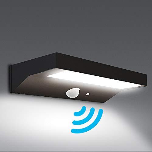 NBHANYUAN Lighting LED Solar Wandbeleuchtung mit Bewegungsmelder PIR Outdoor Edelstahl Solarleuchten  Dimmbar Wandlampe für Garten 3 Modi für Vielfältige Nachfrage Schwarz 4000K Warmweiß Licht IP44
