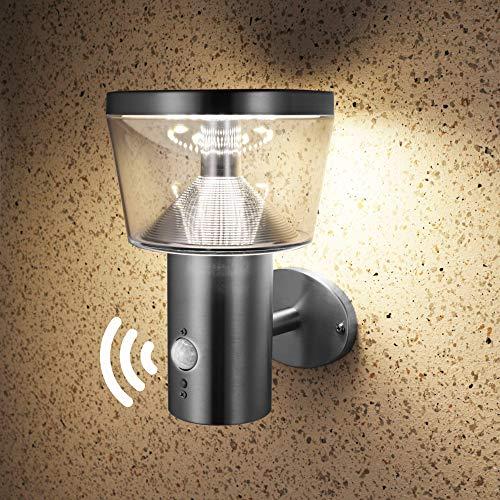 NBHANYUAN Lighting LED Solar Wandlampen mit Bewegungsmelder PIR Outdoor Edelstahl SolarleuchtenDimmbar Wandlampe für Garten 3 Modi für Vielfältige Nachfrage Silber 4000K Warmweiß Licht IP44